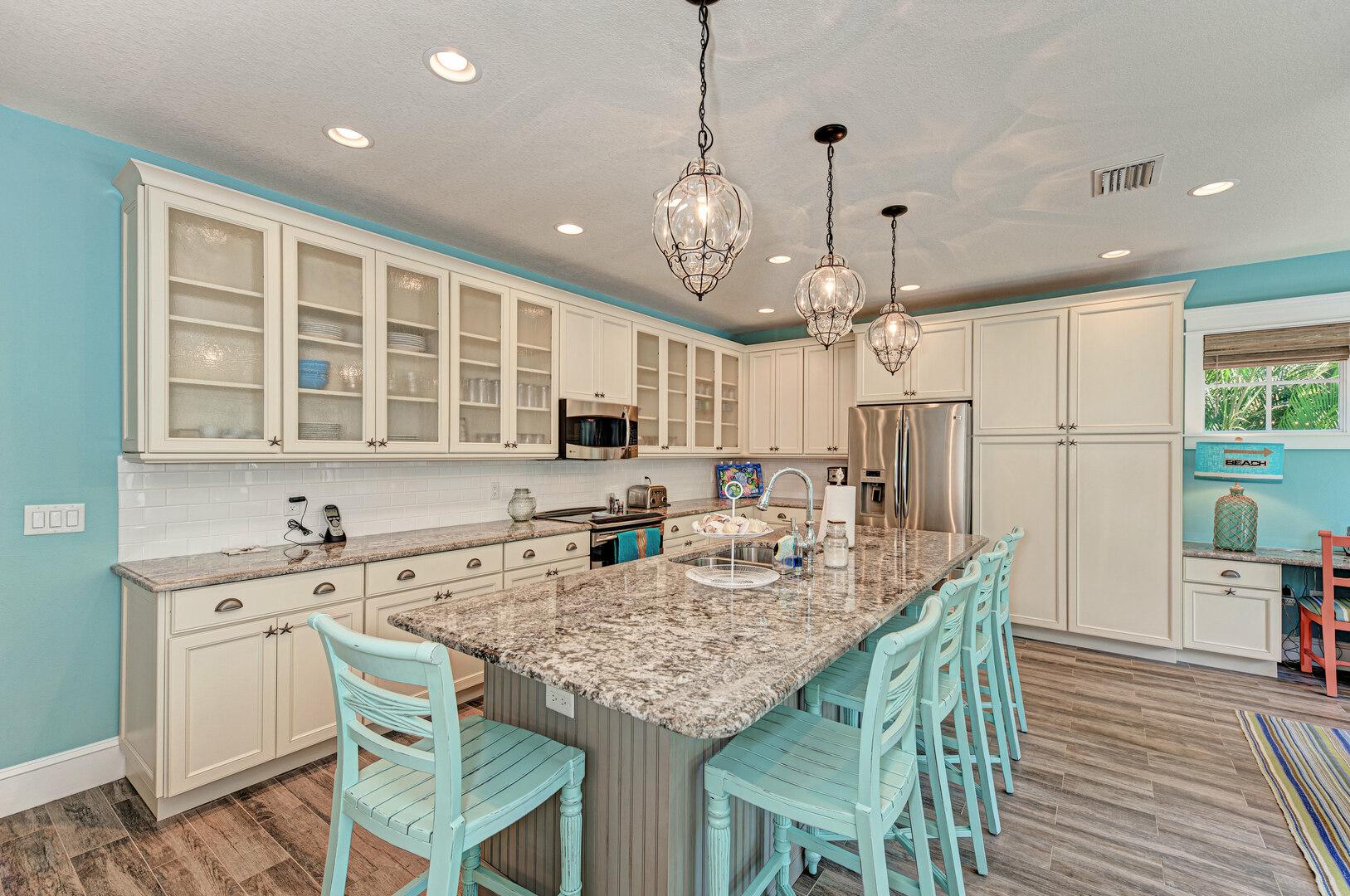 Blue Palm Paradise kitchen