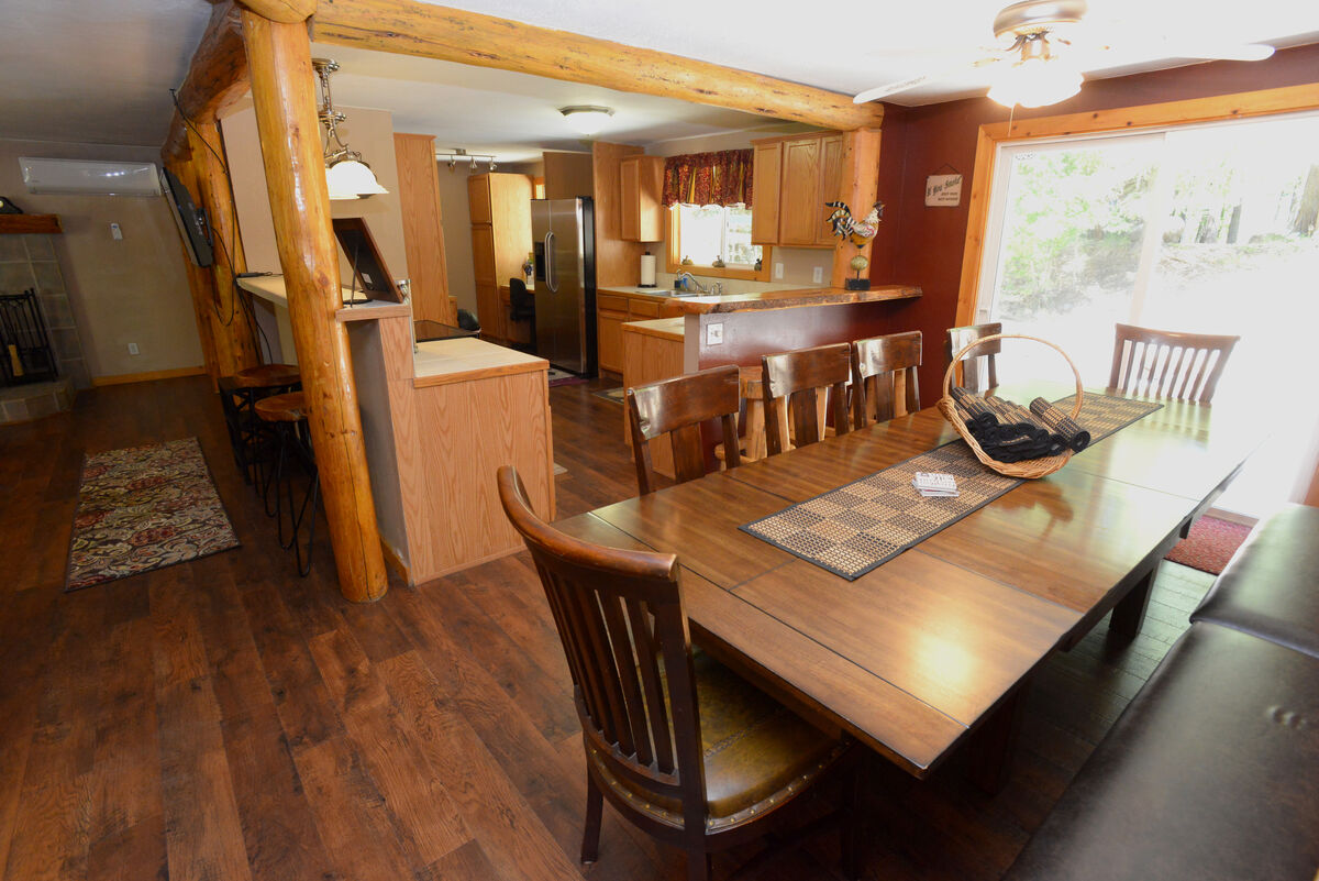 Dining table and counter seating.