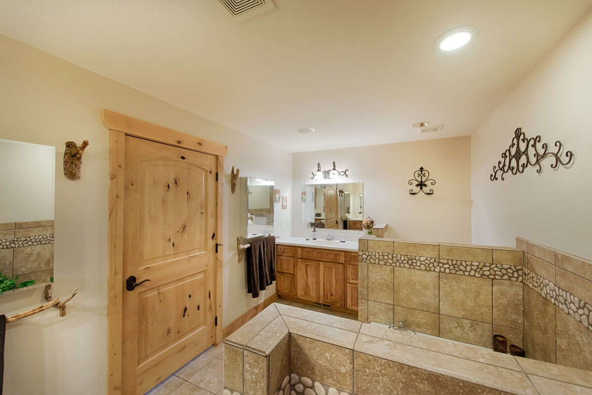 His and Hers vanities and sinks in Master Bathroom