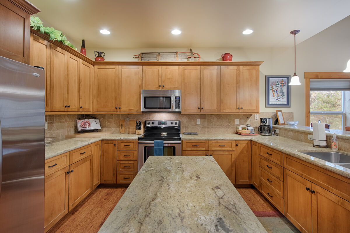 Well equipped kitchen. Lots of granite counter space.