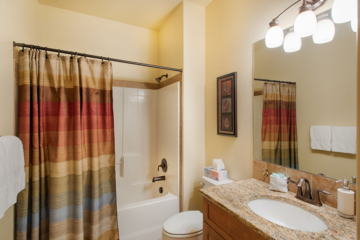 Downstairs guest bathroom.  Shower/tub combo.