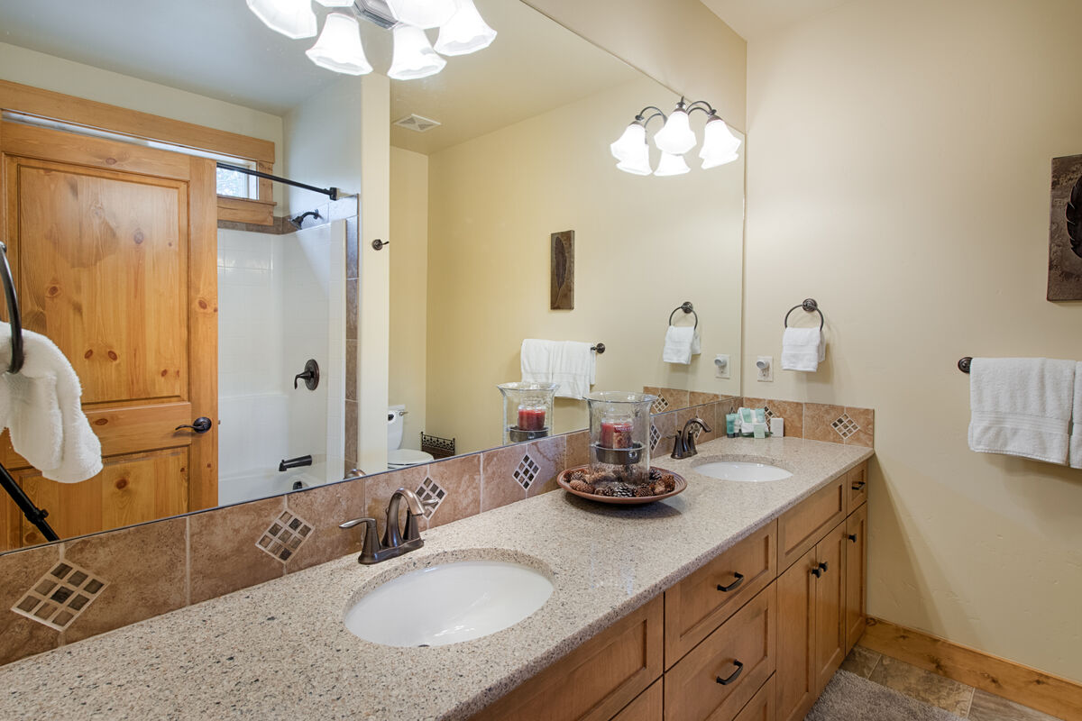 Master Suite Bath with shower/tub combo.