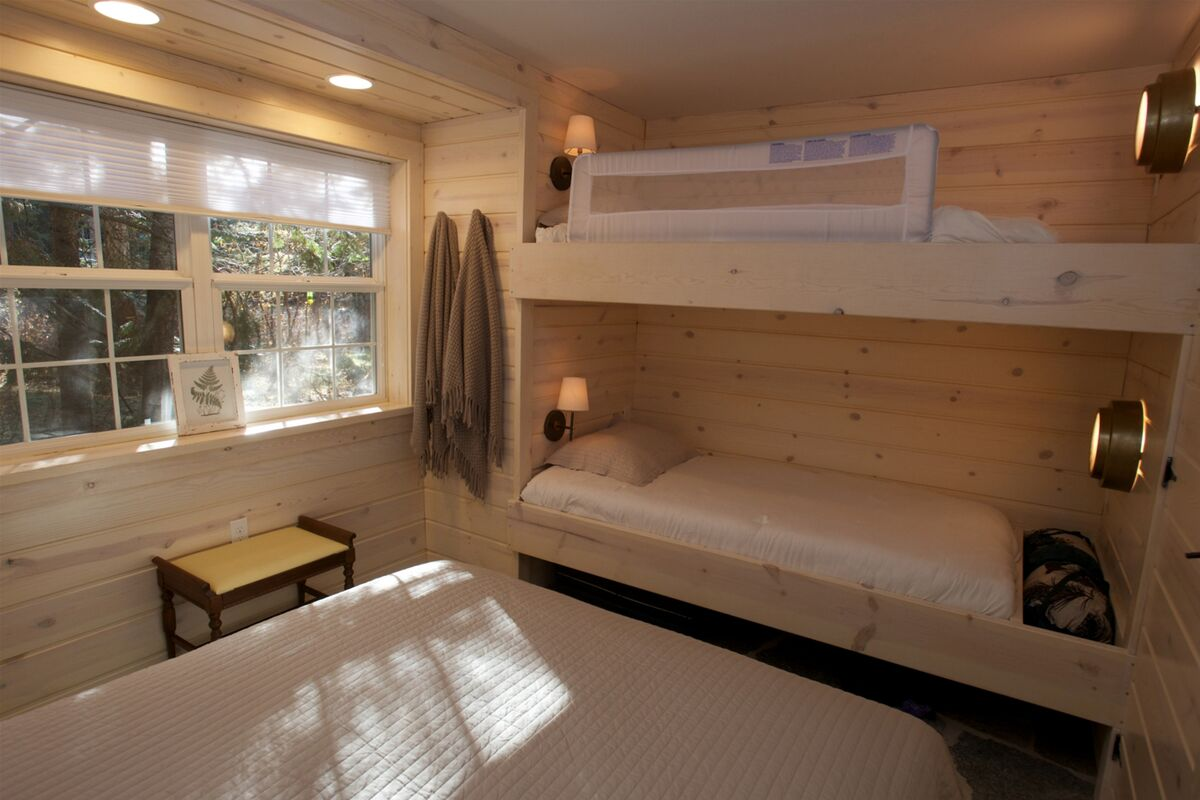 Guestroom one has built in twin over twin bunks