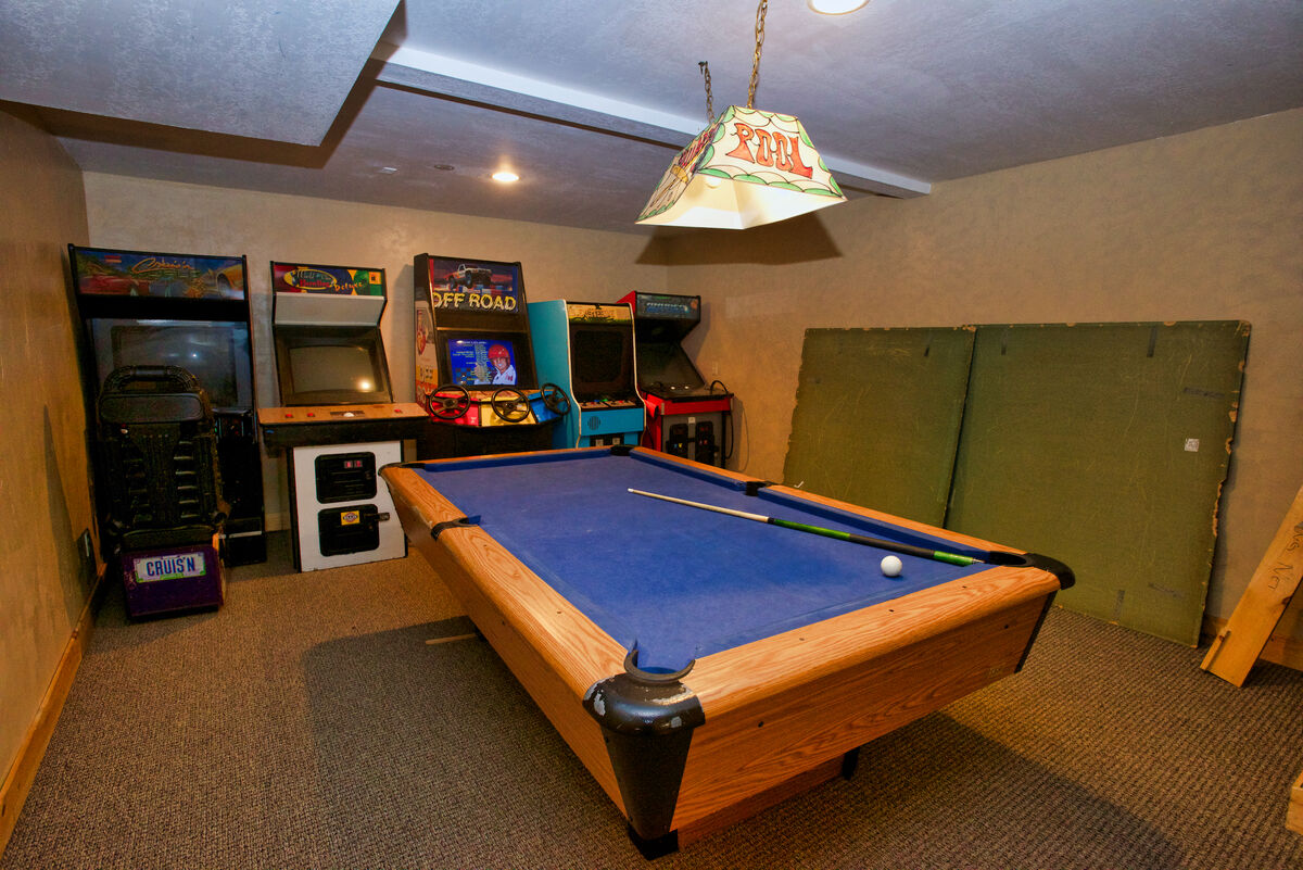 Game room on lower level.
