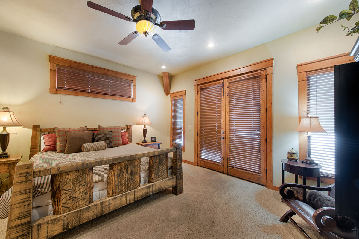 Master Suite has King bed and access to covered, Hot Tub.