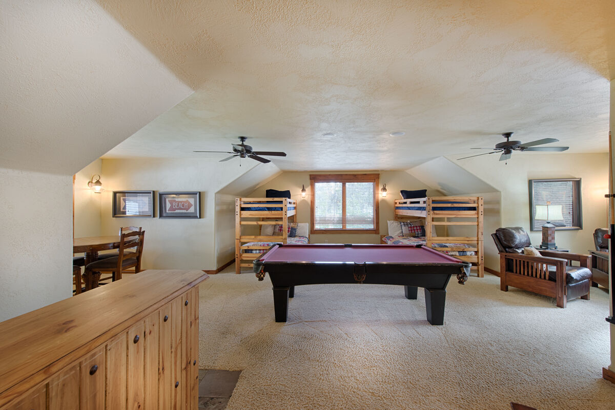 Bunk Room and Game Room Lounge.