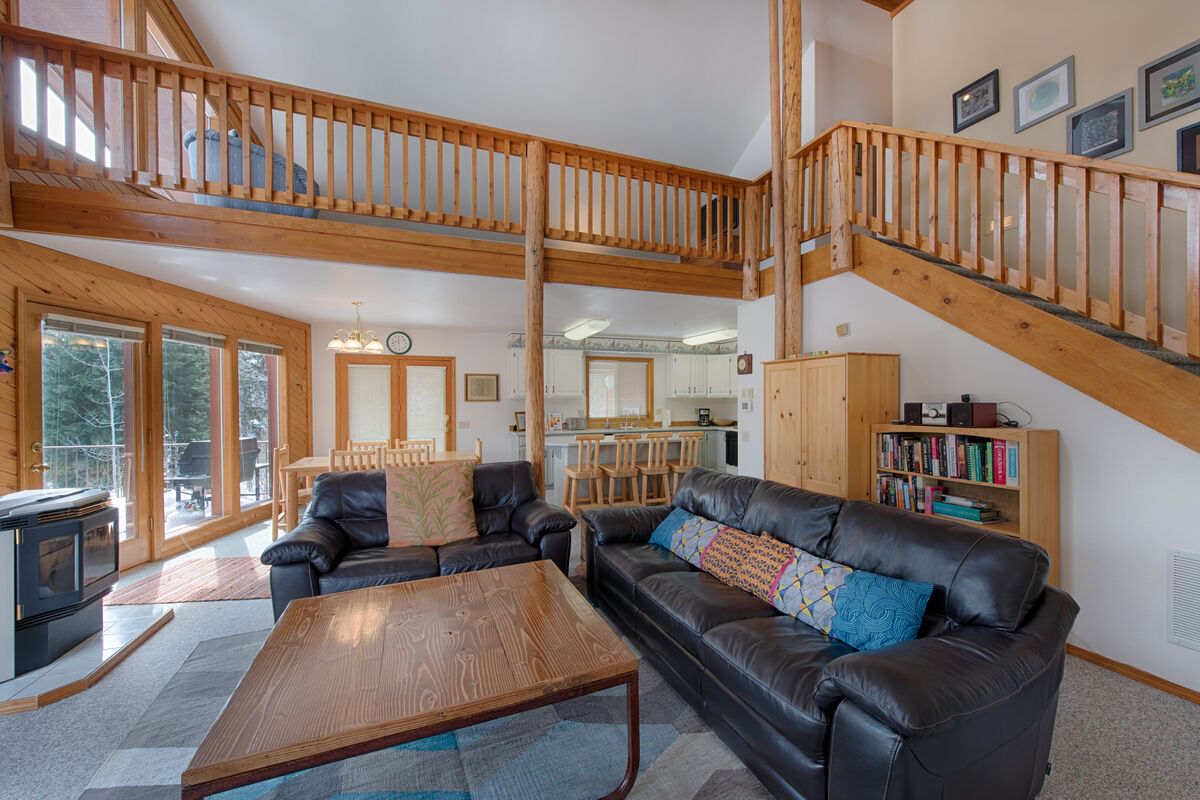 Comfy furnishings, great views and deck access.