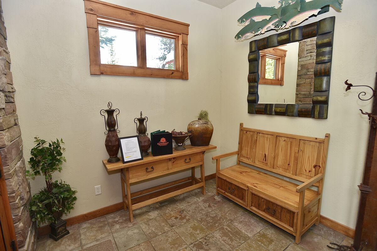 entry with bench and coat rack