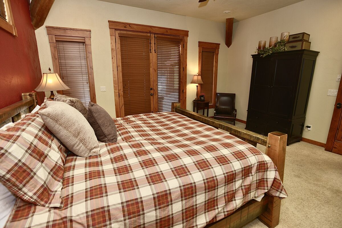 roomy master with access to the patio and hot tub