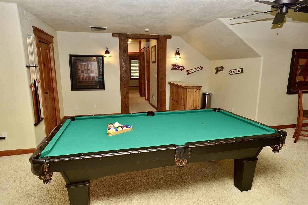 pool table, upstairs game and bunk room