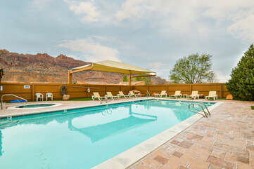 Outdoor Pool and Red Rocks in the Background