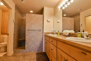 Master Bathroom with Walk in Shower at Moab Rental