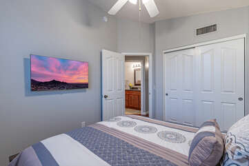 Bedroom 4 is another comfortable place to sleep or view TV away from the crowd.