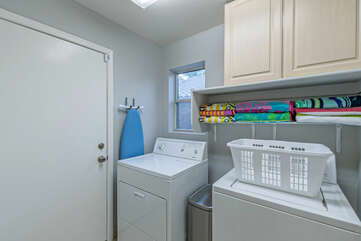 The well stocked laundry room makes sure your wardrobe is ready for the next outing.