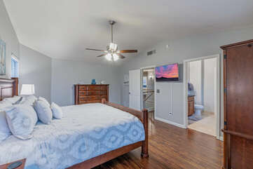 All 4 bedrooms are upstairs. The bedroom floor plan is split to afford privacy to all.