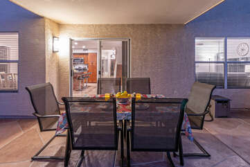 Covered patio is ideal for celebrating your escape to Arizona.