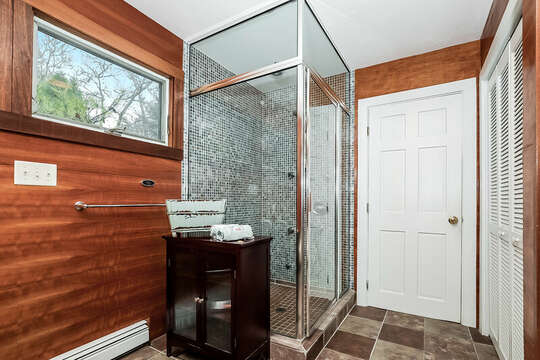 Bathroom #1 full bath with shower , large closet -10 Cranberry Hollow Harwich-Cape Cod- New England Vacation Rentals