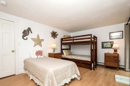 Bedroom #2 with bunks and a twin bed-10 Cranberry Hollow Harwich-Cape Cod- New England Vacation Rentals