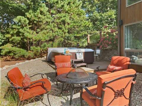 Upper fire pit and hot tub- 10 Cranberry Hollow Harwich-Cape Cod- New England Vacation Rentals