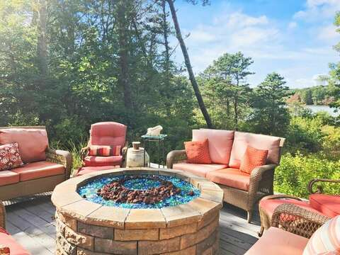 Lower Fire pit overlooking the Pond-10 Cranberry Hollow Harwich-Cape Cod- New England Vacation Rentals
