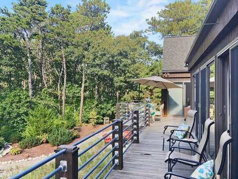 Take in the serene pond views from the upper deck- 10 Cranberry Hollow Harwich-Cape Cod- New England Vacation Rentals