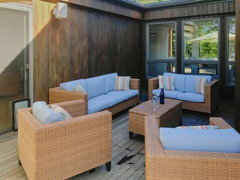 Outdoor seating right outside Bedroom 1 on Main Level - 10 Cranberry Hollow Harwich-Cape Cod- New England Vacation Rentals