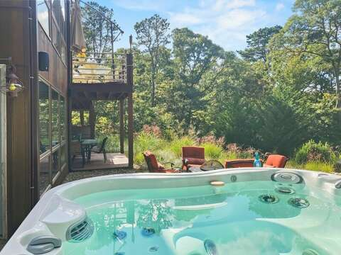 Enjoy the hot tub while the kids roast marshmallows - 10 Cranberry Hollow Harwich-Cape Cod- New England Vacation Rentals