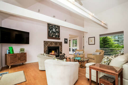 Plenty of seating in this open living room with views of the pond-10 Cranberry Hollow Harwich-Cape Cod- New England Vacation Rentals