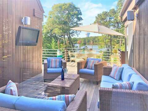 Relax and watch the game in this great outdoor entertainment area on the upper deck.- 10 Cranberry Hollow Harwich-Cape Cod- New England Vacation Rentals