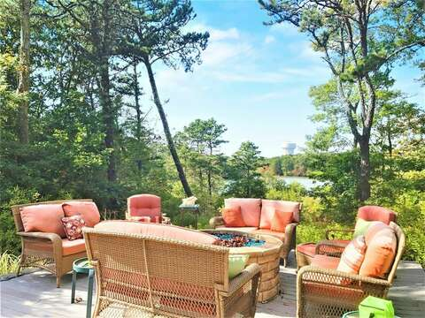 Lower level fire pit with pond views- 10 Cranberry Hollow Harwich-Cape Cod- New England Vacation Rentals