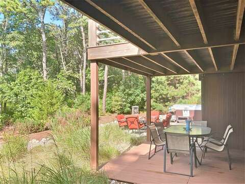 Lower deck area with private entrance from each bedroom!-10 Cranberry Hollow Harwich-Cape Cod- New England Vacation Rentals