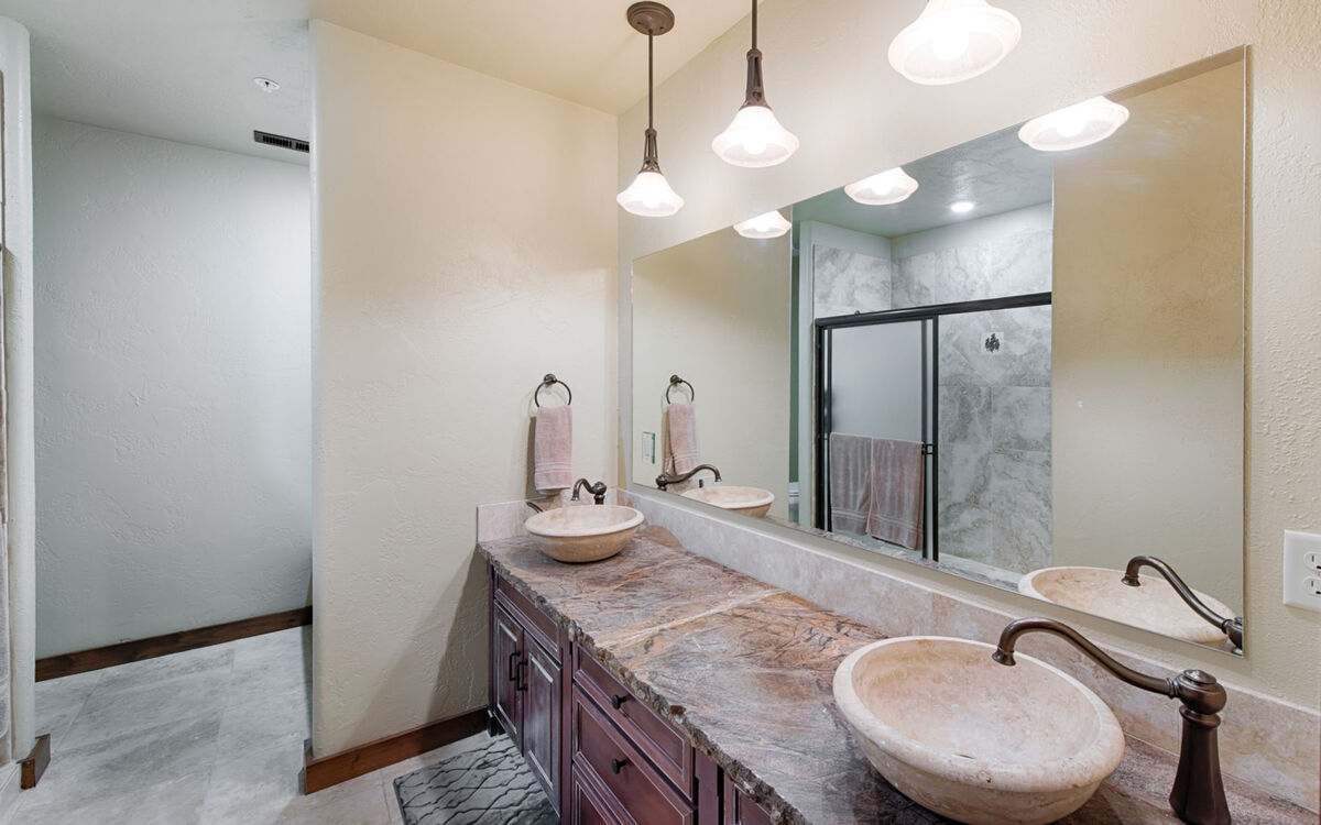 Attached, Master Bathroom with shower and tub.