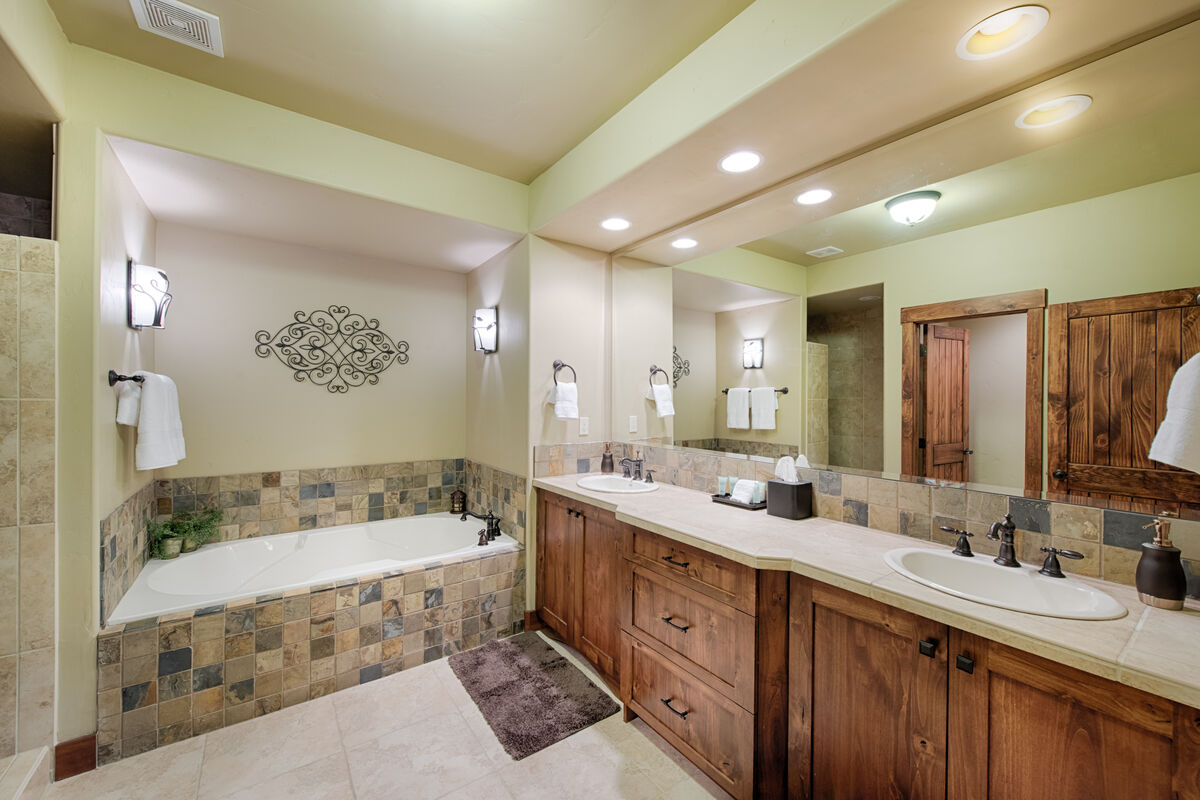 Master Bath has large tub and walk in shower.
