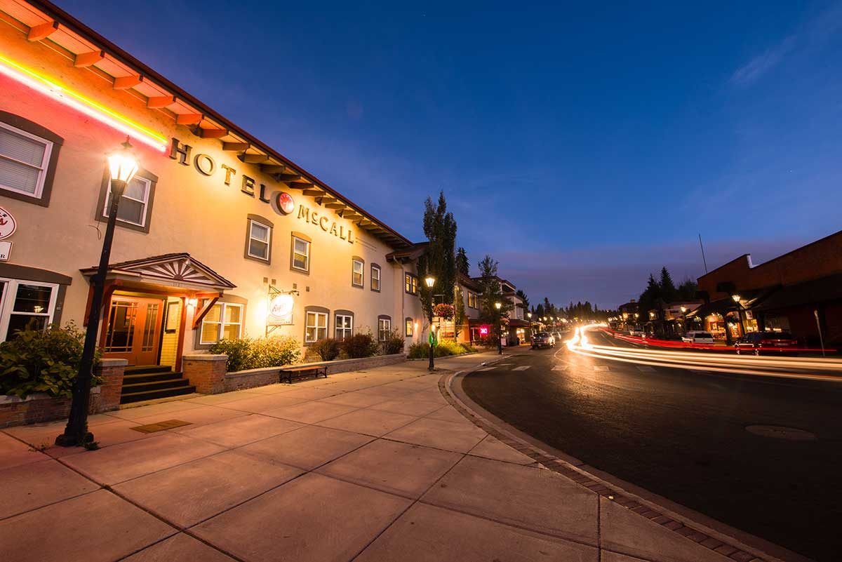 Downtown McCall at night
