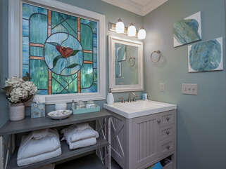 Bathroom is spacious and updated.