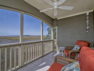 Screened porch off the bedroom and the living room.