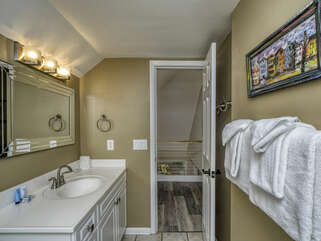 Beautifully renovated loft bath between guest bedroom 2 & 3