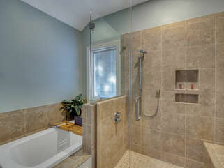 Large walk in shower and also a tub for relaxing.