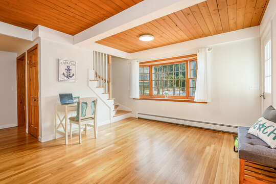 Front entrance with desk for remote working and stairs to upper level - 2 Cove Road Harwich Cape Cod - New England Vacation Rentals