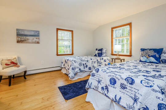 Bedroom #4 - Upper Level - Two twin beds - 2 Cove Road Harwich Cape Cod - New England Vacation Rentals