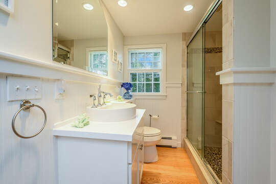 Bathroom #1 - Main Level Full Bathroom with glass enclosed shower - 2 Cove Road Harwich Cape Cod - New England Vacation Rentals