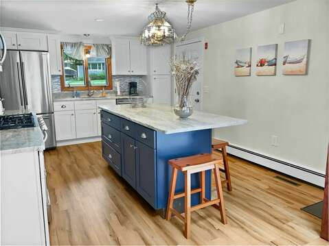 Updated kitchen with island bar seating - 2 Cove Road Harwich Cape Cod - New England Vacation Rentals