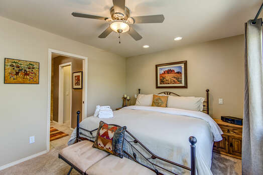 Main Level Master Bedroom with a King Bed