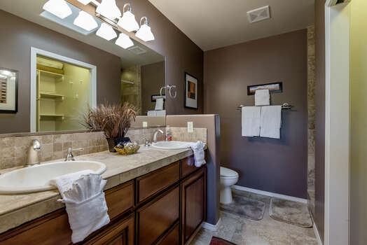 Master Bath with a Tile Shower