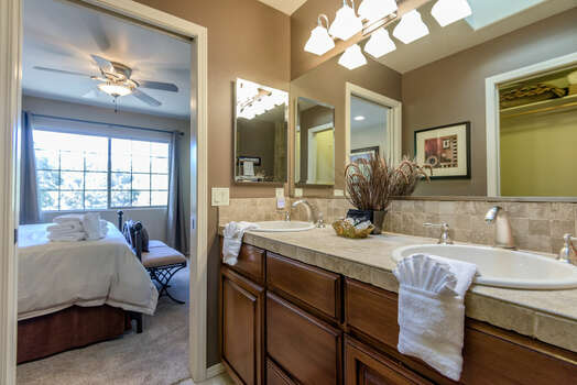Private Master Bath with Dual Stone Counter Sinks