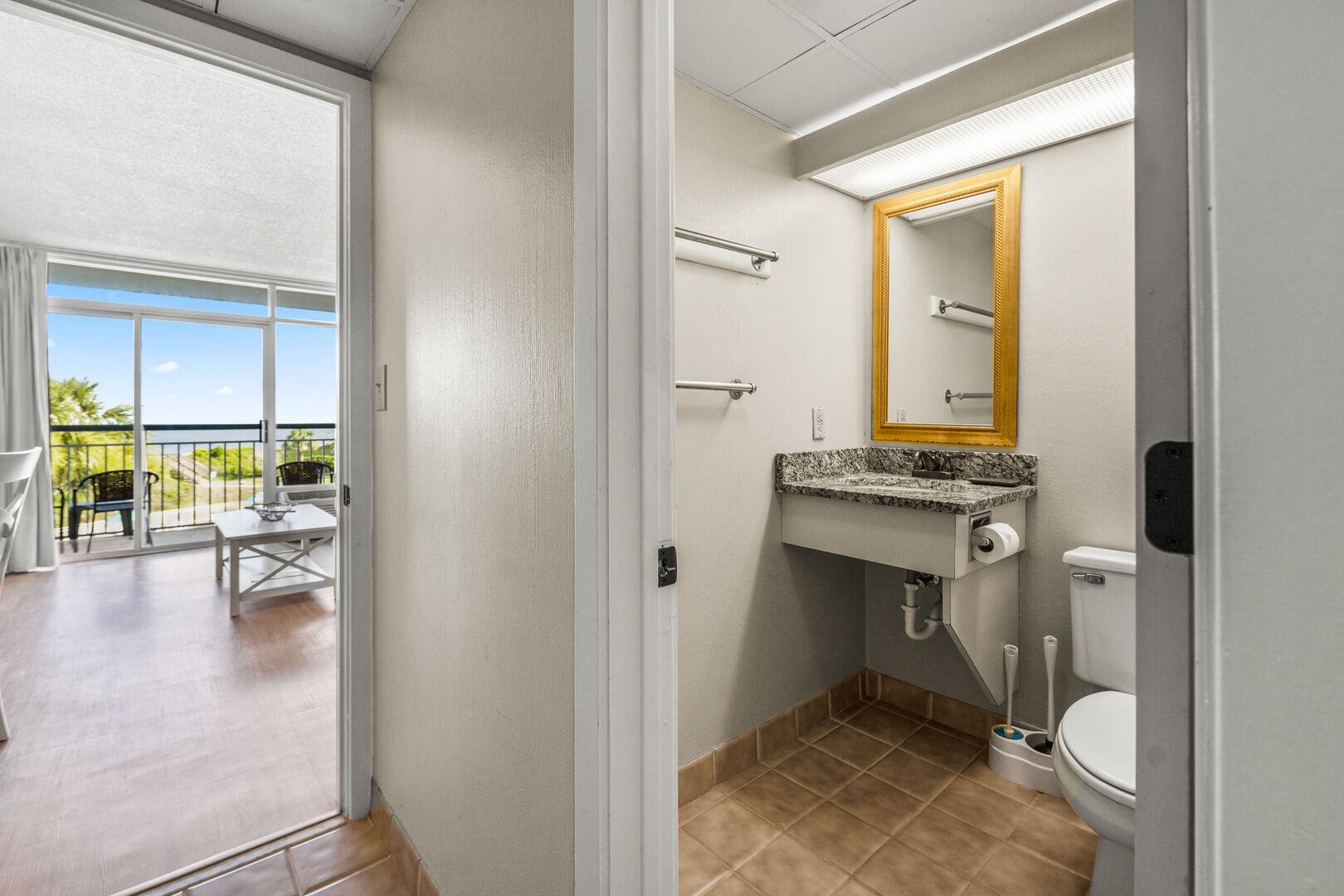 Bathroom (Sink/Toilet on Living Area Side)