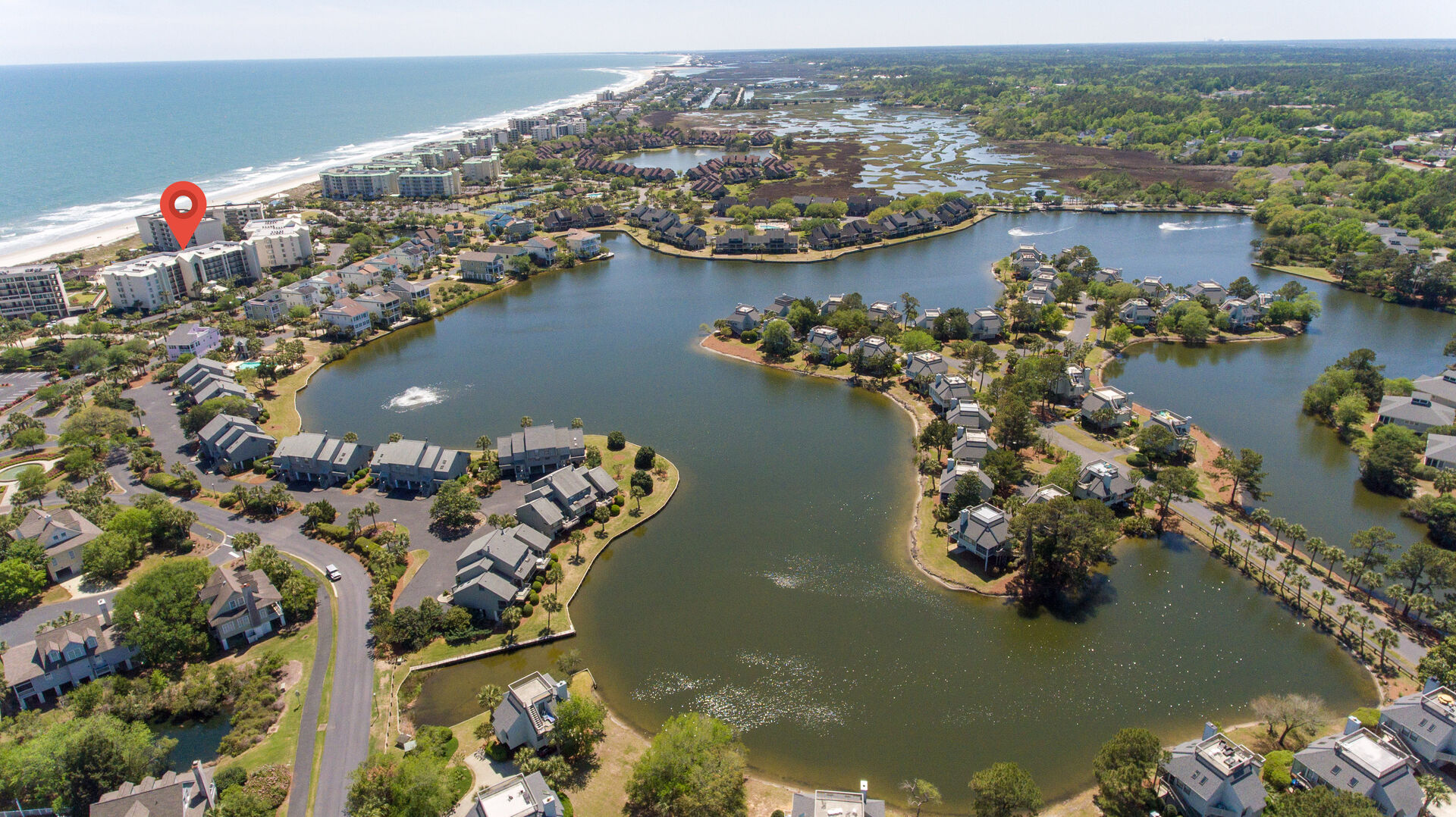 Aerial View of Litchfield By the Sea - Captains Quarters C25