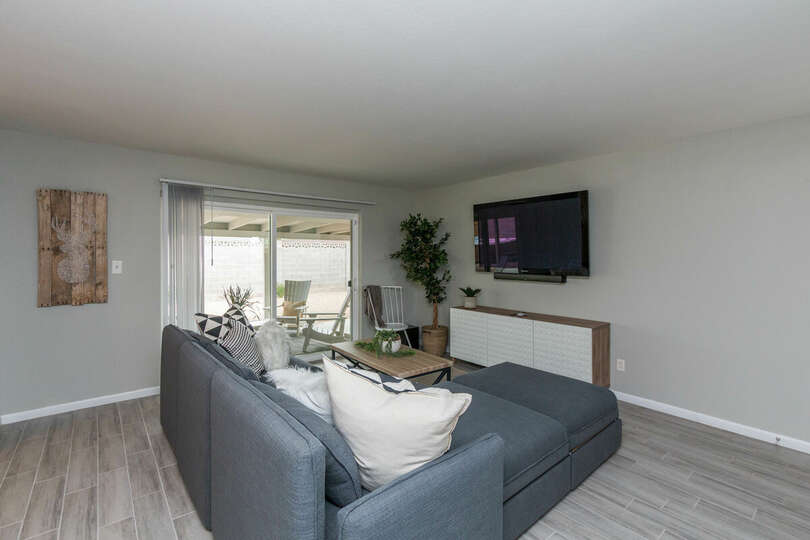 Living area and flat screen tv