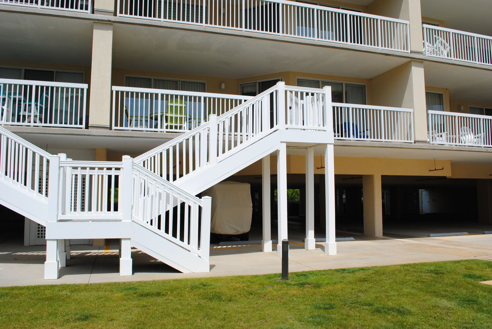 Private Stairs from Balcony to Pool Area