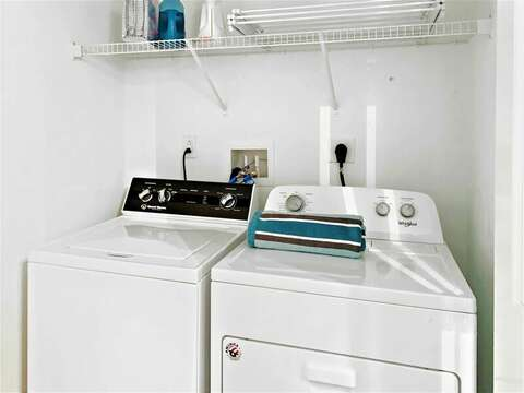 Washer and dryer located in the half bath on first floor-31 Pine Rd West Dennis- Cape Cod- New England Vacation Rentals
